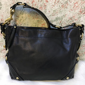 COACH CARLY Black Leather Hobo Shoulder Bag 10615